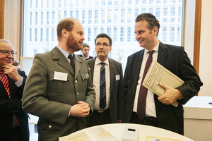 Oliver Meisenberg (VirtuRAD), Christoph Unger (president of the German Federal Office for Civil Protection and Disaster Response), Dr. Günter Krings (parliamentary secretary of state with the Federal Minister of the Interior) discuss about the project.